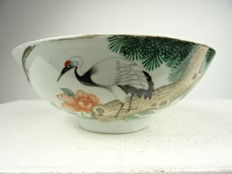 Porcelain bowl with crane - China - Republic period (1912-1949)