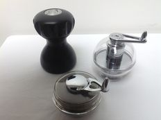 Marc Newson for Alessi – 'Gemini' pepper mill and 2 nutmeg mills