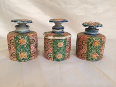 Pots with lids and polychrome decorations, Japan, early twentieth century