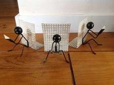 Designer unknown – vintage letter holder and bookends in the shape of stick figures