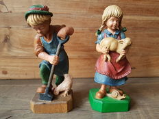 Oberammergau - wood - Set of two figurines, boy and girl