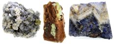 Lot - Chalcopyrite & Dolomite On bluish Quartz - Adamite on orange Limonite - Blue John - 908 gm (3)