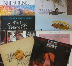 Lot of 8 classic Neil Young albums, including live double album; Neil Young, Everybody Knows this is Nowhere (coupled), Harvest, On The Beach, Rust Never Sleeps, Live Rust (2) etc.