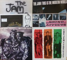 Six early albums by The Jam; In the City, This is the Modern World, Setting Sons, Sound Affects, Dig The New Breed (live) and The Gift, all VG+/VG+