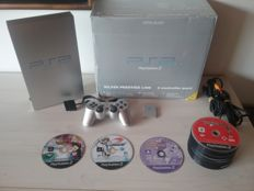 PS2 Console (Silver Prestige Line) With 1 Silver Controller and 1 Memory Card and 55 Game Discs