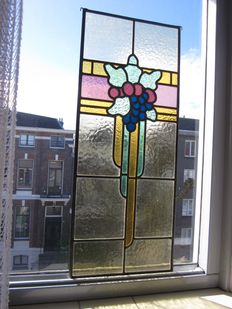 Old beautiful stained glasses with mosaic 'grapes' suncatcher - from around 1900