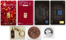Australia - 1 Gold Card ORIANA 1 g of .999 gold,  The Perth Mint - 1 Gold Card GOLD CLUB 0.10 g of 999.9 Nadir Gold - 1x 2 g  999 silver coin - 1 oz 999 copper coin - 1 keyring - Certificate