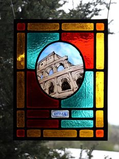 Original stained glass panel with kiln-fired painting - Rome
