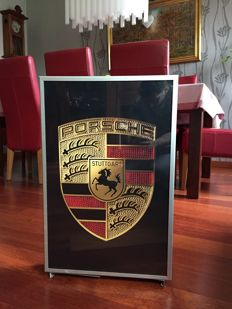 Large exclusive Porsche lightbox 64 x 42 x 10cm illuminated advertising sign - xxl dealer sign 90s