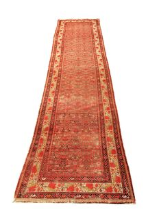 Handmade Malayer Persian carpet, 410 x 98 cm, ca. 1900
