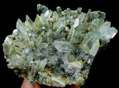 Damage free Green Chlorite included Quartz Crystal Cluster - 105 x 75 x 56 mm - 390gm