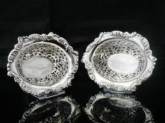Pair of pierced silver sweetmeat dishes, Chester England, 1903, George Nathan & Ridley Hayes