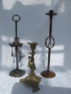 "2 Candlesticks and one 3 light ""snotneus"" oil lamp -France-early 20th century"