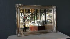 Large mirror with facet cut glass - hand-gilded - silver - Baroque style