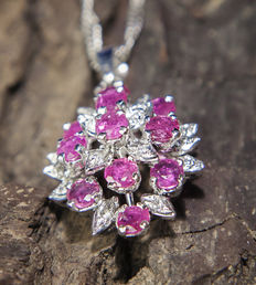 925 Silver 2,2 CT Ruby & Diamond  pedant with chain , no reserve price