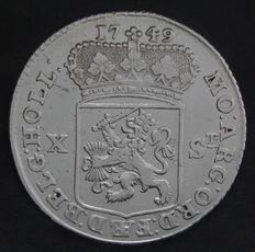 The Netherlands - half generality guilder of X nickles 1749 with cable edge - silver