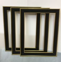 Three large Italian Frames  in Black and  golden Borders, second half of 20th century