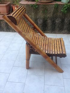 Bamboo wood deck chair - Italy, approx. 1985