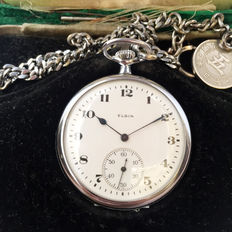 1920-30s Elgin-USA Mechanical Pocket Watch with Box and Chain