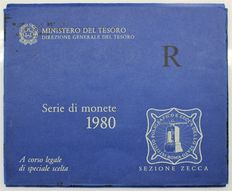 Republic of Italy - 1980 'R' divisional series for outside Italy (with silver coins)