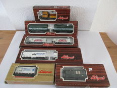 "Liliput H0 – 21501/22903/22901/38110/and others - 7 beer carriages, 1 Langenschwalbacher passenger carriage and Rottenkraftwagen ""Plasser + Theurer"""