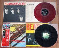 The Beatles- Rare lot of 2 Japanese pressings: Meet The Beatles (1st mono pressing on RED wax!) & Please Please Me (Japan 1976 pressing complete w. OBI & 2x 4-pages insert!)