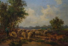 J. Hoekstra (20th century) - Shepherd with sheep