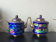 Two cloisonné enamel teapots - China - second half 20th century