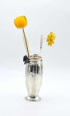 Italian designed sterling silver vase and enamelled tulip and daisy , International hallmarked