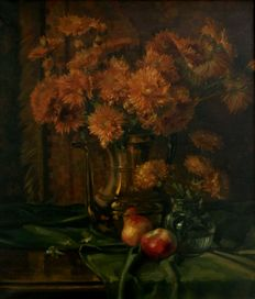 P. Verhaaren (20th century)-still life with flowers in copper coffee pot and apples