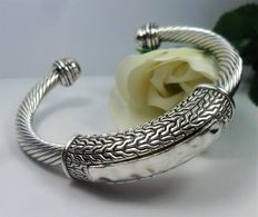 925 silver bracelet, rigid, adjustable and open bracelet, with pattern.
