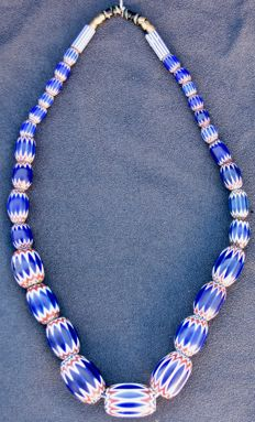 Late 19th century - Antique necklace made of glass beads known as 'chevron beads of Venice'
