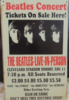 "Two Stunning Metal Beatles  Memorial Signs - A Hard Days Night - And Beatles Concert "" the beatles Live In Person """