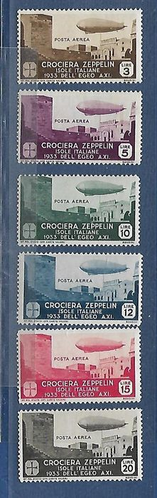 Italy – 1933 – Aegean general issues – Zeppelin, complete series