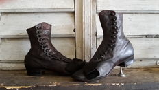 Leather button boots - presumably France - first half of 20th century