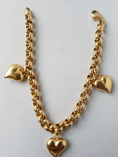 14 kt gold bracelet (Jasseron links) with 3 heart-shaped charms - in very good condition.
