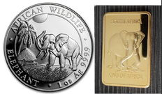 1 oz African Wildlife Series Elephant 2017 - 100 Shilling - 999 Silver Coin + 24 Carat Medallion Bar