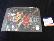 Magic Johnson and Michael Jordan - Basketball legends Dream Team '92 - autographed by Magic + PSA / DNA COA