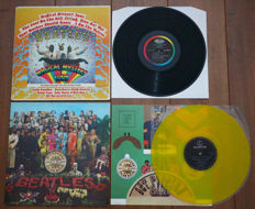 The Beatles- lot of 2 of their classic albums: Magical Mystery Tour (1967 US pressing on Capitol w. complete booklet!) & Sgt. Pepper's Lonely Hearts Club Band (rare Dutch issue on yellow wax!)