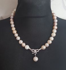 925 silver natural cultured freswater pearl necklace, lengh 48cm