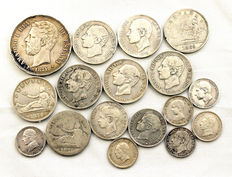 Spain – Lot of 17 silver coins – 19th century – Madrid