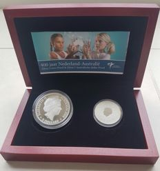 "The Netherlands and Australia – combination set, ""400 years The Netherlands-Australia"", with 5 euro and 5 dollar – silver"