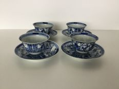 Four sets of porcelain cups and saucers – China – 19th century