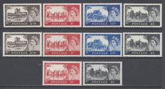 Great Britain 1955/1968 - Chateaus series  - Yvert 283/286 , 351/354 , 504/505