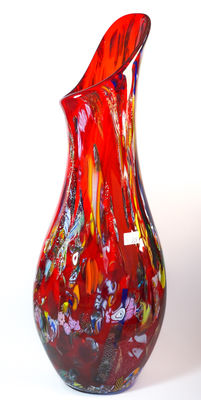Mario Costantini (Murano) - big red vase (unique piece, 69 cm)