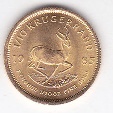 South Africa – 1/10 Krugerrand 1985 – 1/10 ounce of gold.