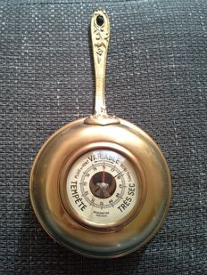 Beautiful Copper Galley Barometer of Precision, in the form of a saucepan.