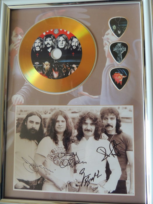 Black Sabbath - Beautiful Signed (in print) Picture Framed Gold Plated Disc Framed