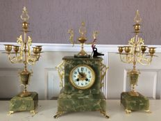 Bronze/Copper gold-plated Napoleon clock set - Japy Freres - around 1844