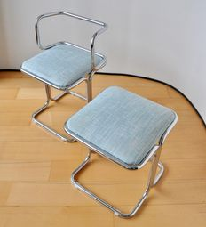 Designer unknown - Chrome set chair and stool